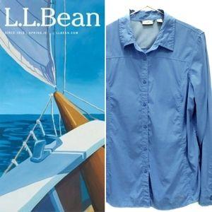 L.L.Bean Button Up Cornflower Blue SPF Blouse